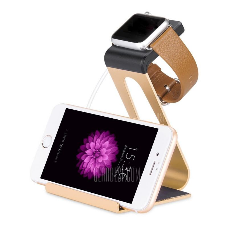Gold Hoco aluminium charging station for Apple Watch 38mm, 42mm and iPhone Hoco Chargers - Cables -  Supports and docks Apple Wa