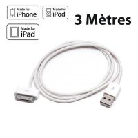 Achat Cable USB 3 Mètres blanc pour iPad IPhone IPod CHA00-023X