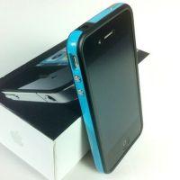 Achat Bumper - Contour TPU Bleu & Noir IPhone 4 & 4S COQ4X-028X