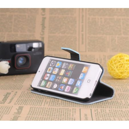 Achat Etui portefeuille stand blanc iPhone 5/5S/SE COQ5X-167