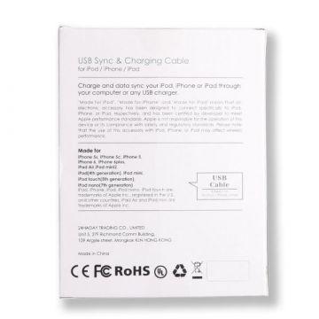 Black Lightning Kabel zertifiziert Apple Made for iPhone (MFI)  Ladegeräte - Batterien externe - Kabel iPhone 5 - 3