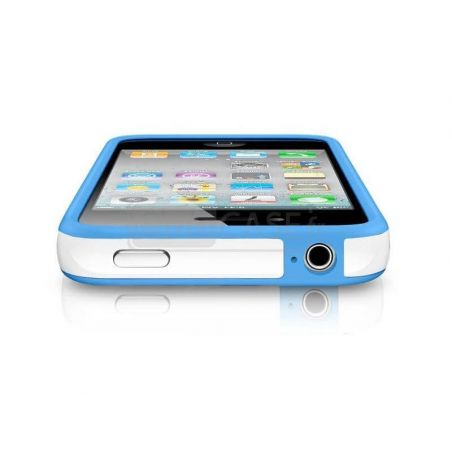 Bumper TPU for iPhone 4 & 4S White & Blue