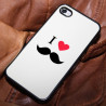Coque iLove Moustache blanche iPhone 4 4S