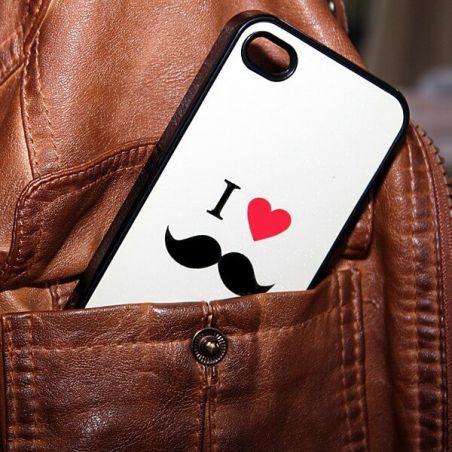Achat Coque iLove Moustache blanche iPhone 4 4S COQ4X-133X