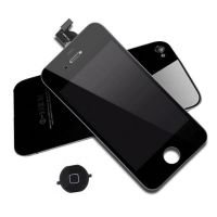 Original Quality Complete Kit : Glass Digitizer & LCD Screen & Frame + Backcover + Button for iPhone 4S Black