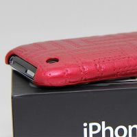 Imitation leather embossed cover Case iPhone 3G 3GS Red