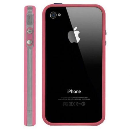Bumper - Roze & transparante TPU-contour Iphone 4 & 4S