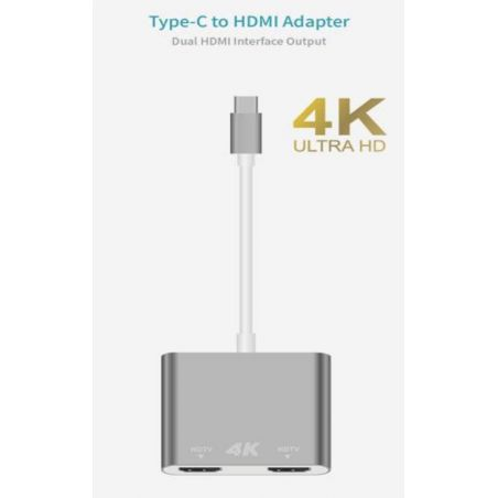 Dual HDMI to USB-C adapter