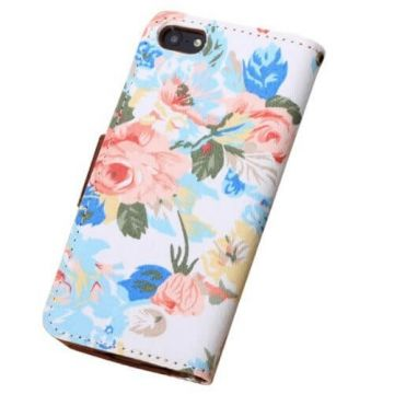 Flower style Portfolio Stand Case iPhone 5/5S/SE  Covers et Cases iPhone 5 - 3