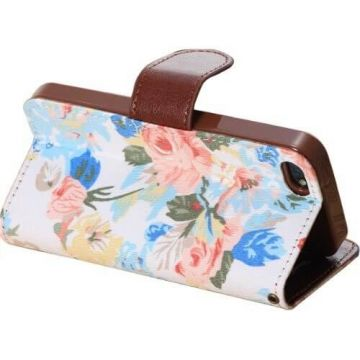 Flower style Portfolio Stand Case iPhone 5/5S/SE  Covers et Cases iPhone 5 - 4