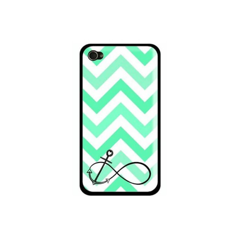 iPhone 5/5S/SE Navy Turquoise Anchor and chevrons shell  Covers et Cases iPhone 5 - 1