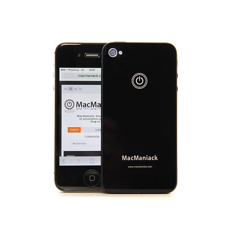 Achat coque arrière face de remplacement vitre MacManiack IPhone 4 Noir IPH4G-300X