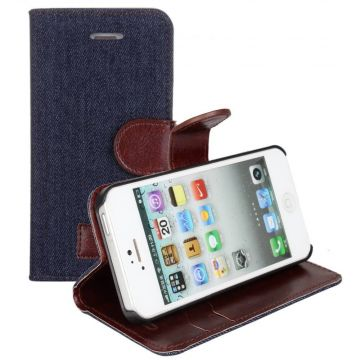Denim style Portfolio Stand Case iPhone 5/5S/SE  Covers et Cases iPhone 5 - 3