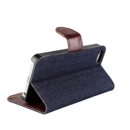 Denim style Portfolio Stand Case iPhone 5/5S/SE  Covers et Cases iPhone 5 - 4