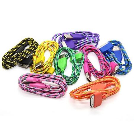 Braided USB Cable for iPhone iPad and iPod  Chargers - Powerbanks - Cables iPhone 4 - 1