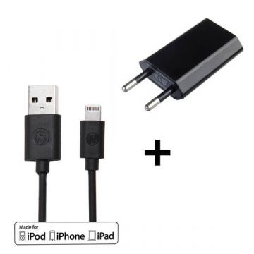Pack 2 in 1 black MFI cable lightning + CE approved mains charger  iPhone 5 : Packs - 1