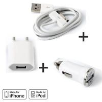 Achat Pack Chargeur 3 en 1 iPhone 3G 3GS 4 4S Blanc CHA00-009