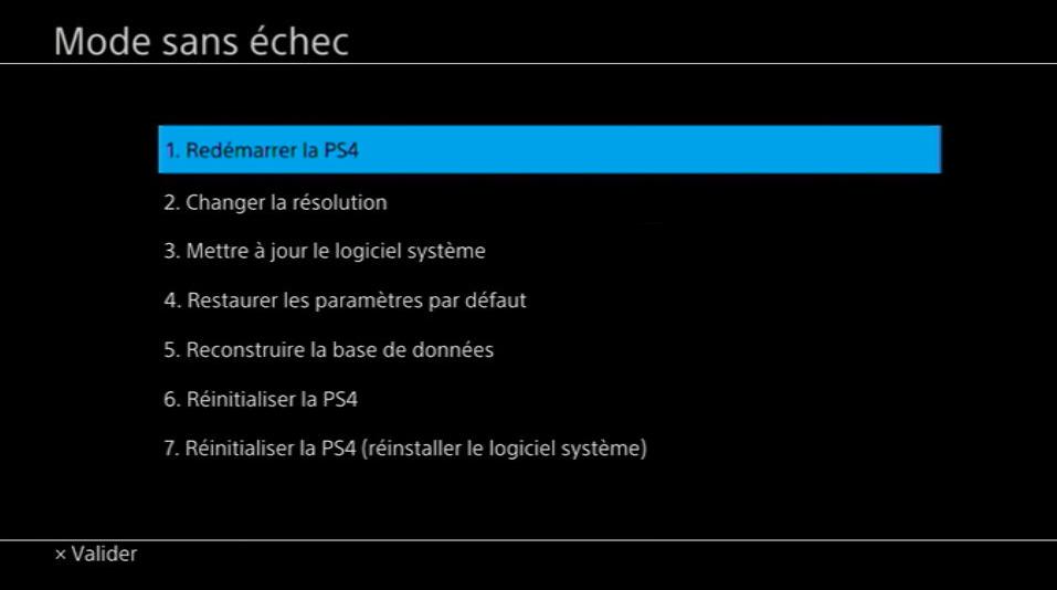 Activer mode sans échec PS4